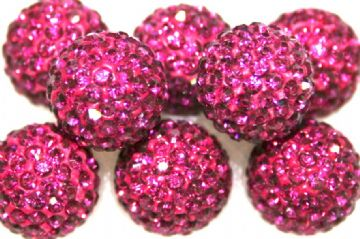 12mm Fuchsia Pink 130 Stone Pave Crystal Beads - Half Drilled  PCBHD12-130-024